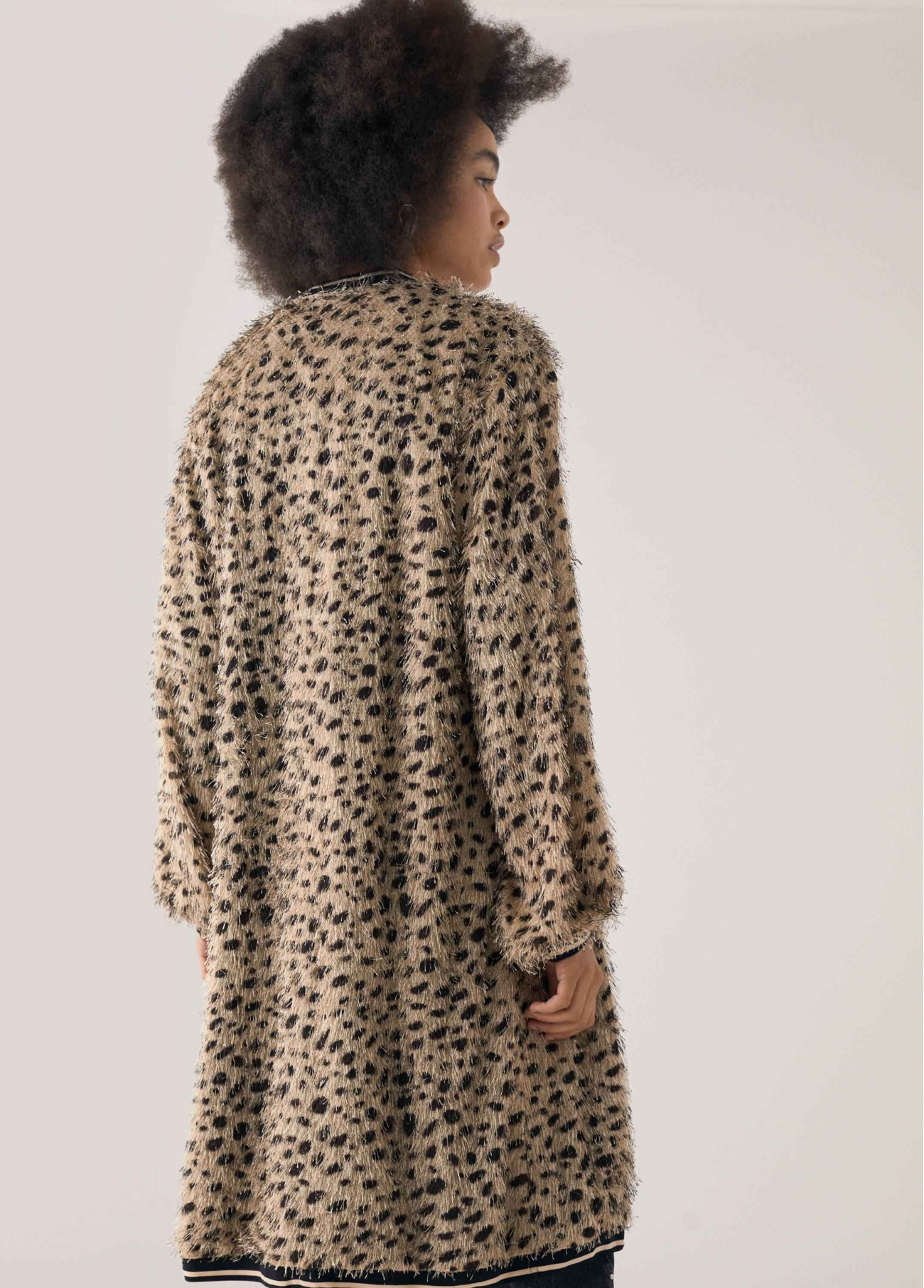 Chaqueta efecto desflecado animal print, marron 2