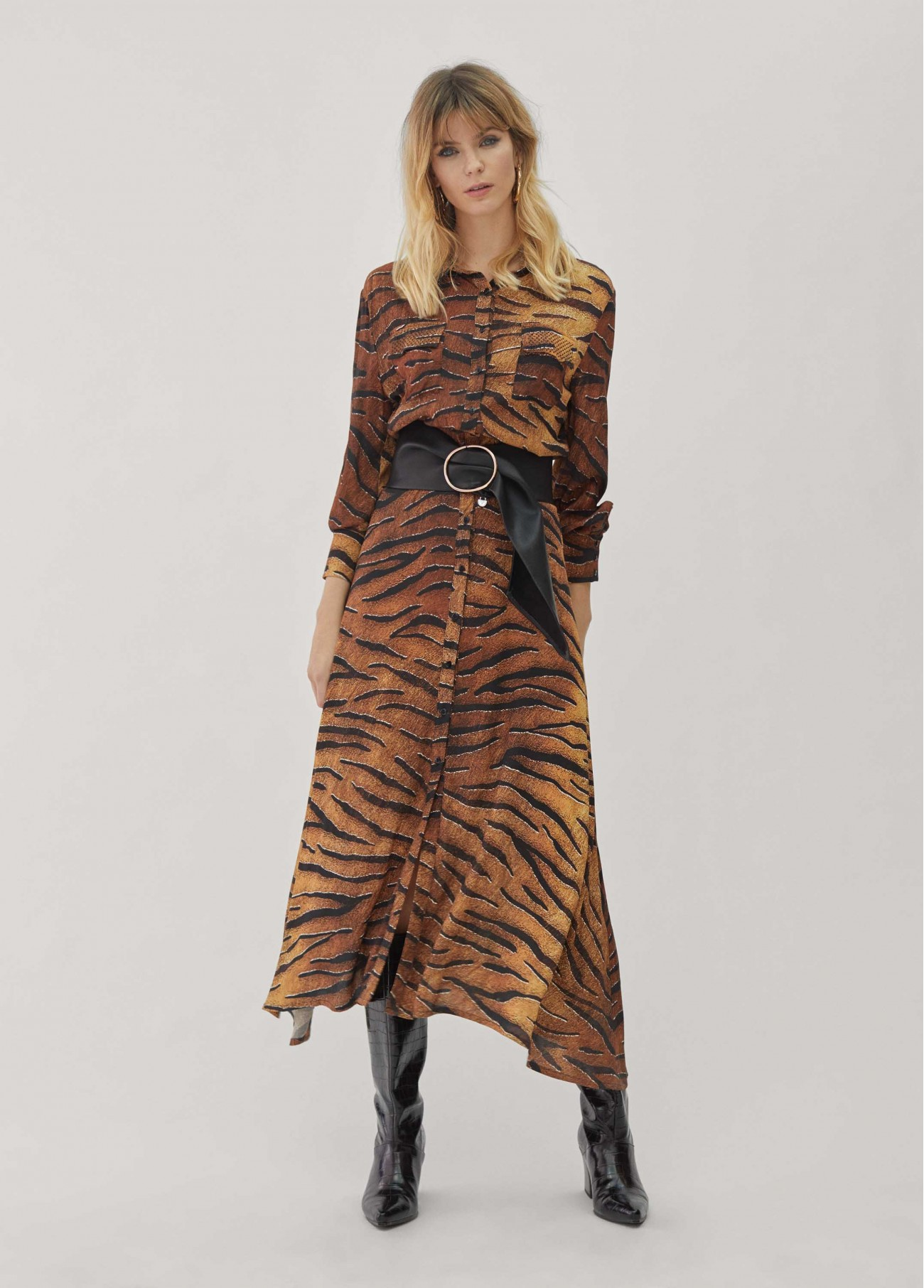 Vestido largo animal print,  2