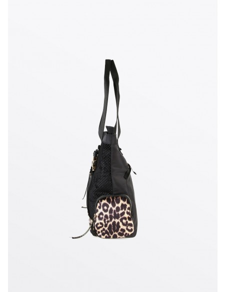 Bolso shopper LOVE rejilla, negro
