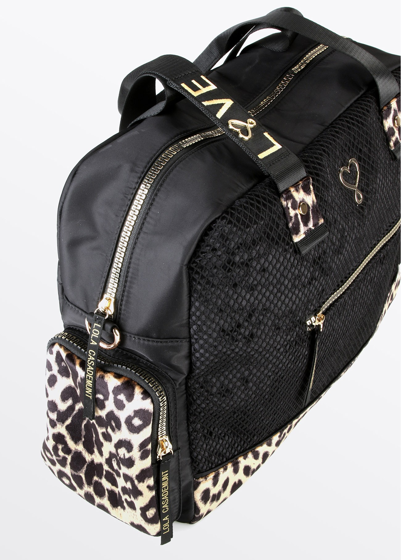 Bolso weekend love rejilla, negro