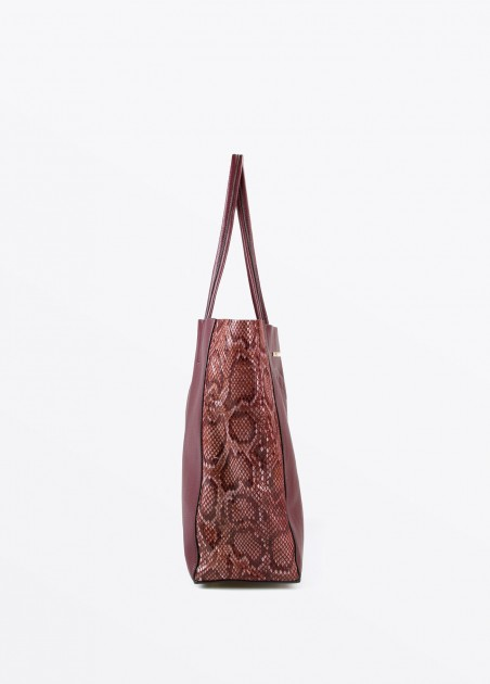 Bolso shopper serpiente, granate 2