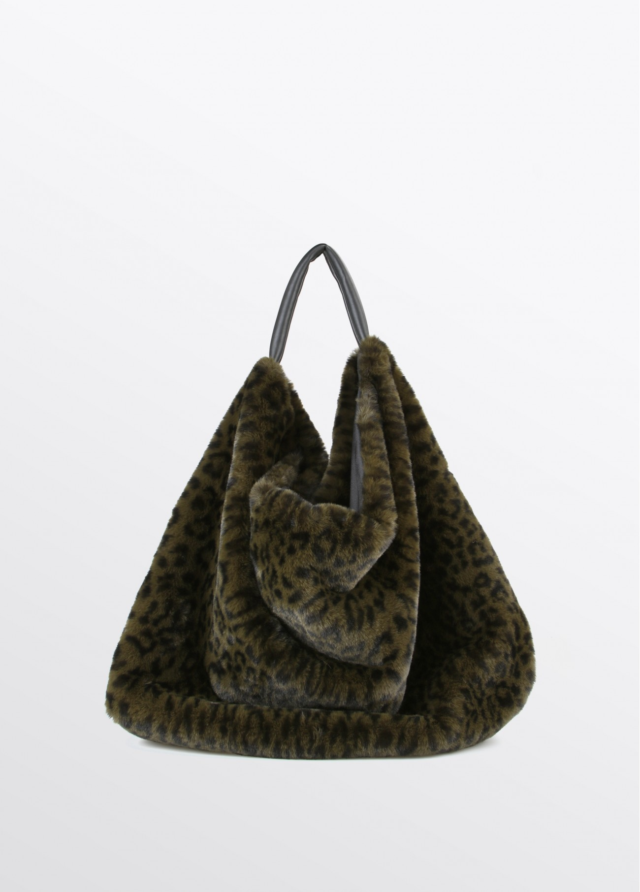 Bolso shopper fake fur leopardo, kaki 2