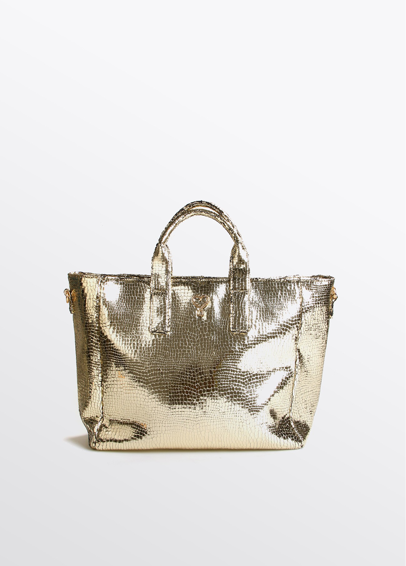 Bolso shopper XL gold craquelado