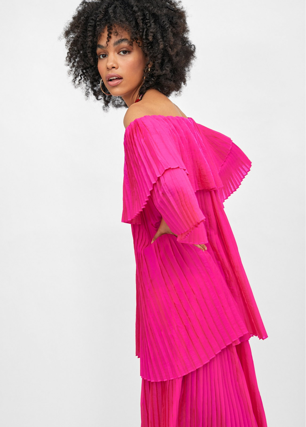 Vestido largo volantes off shoulder