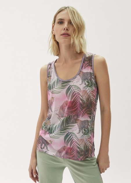 Top tropical print ribetes...