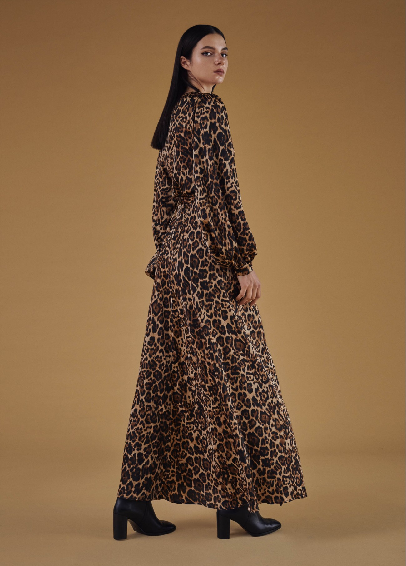Vestido largo animal print