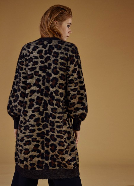 Chaqueta de punto animal print, marron 2