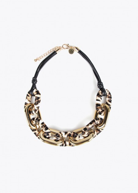 Collar eslabones animal print