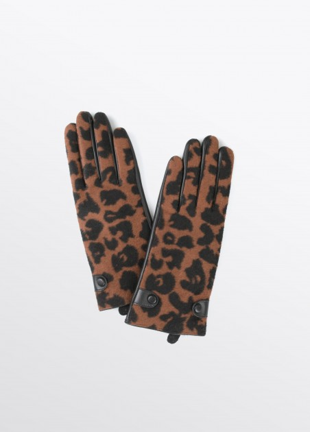 Guantes estampado leopardo, rojo, marron