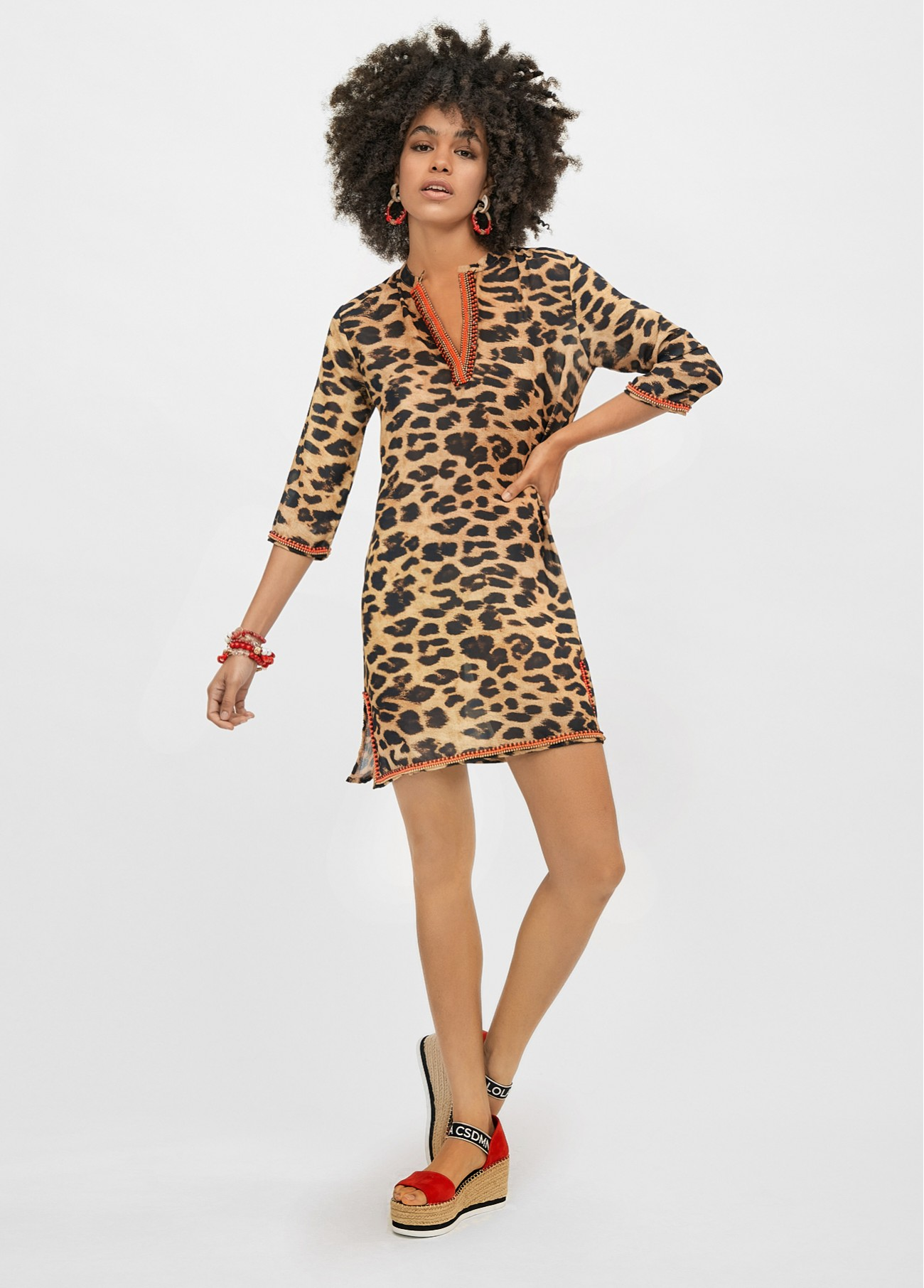 Kaftan corto estampado animal print