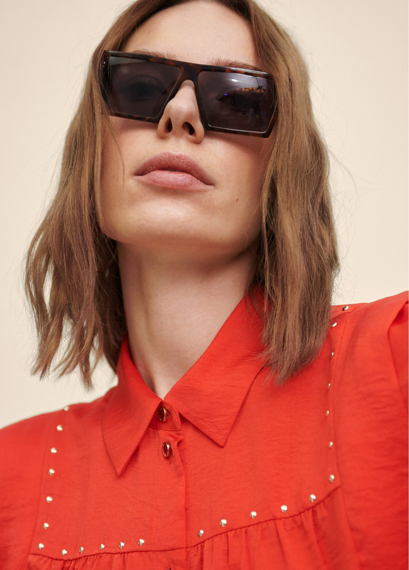 BLOUSE WITH STUDS DECORATION AT YOKE
