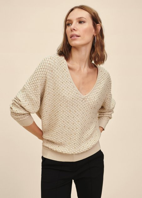 V-neck sweater with scale...