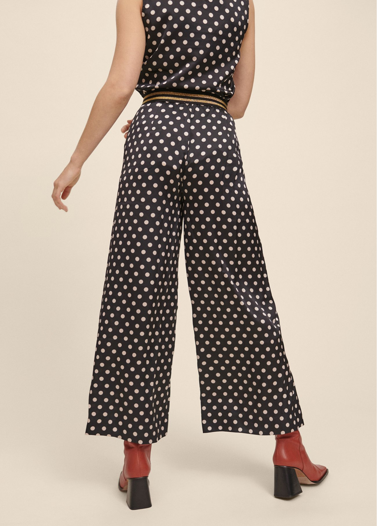 Two-tone polka dot flowing trousers