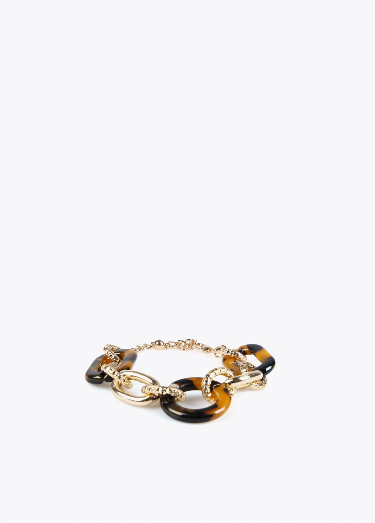 Bracelet with golden and resin links