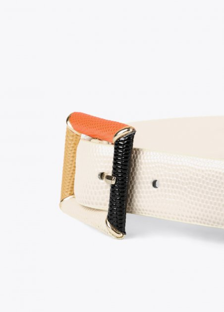 Eco-leather belt with multi...
