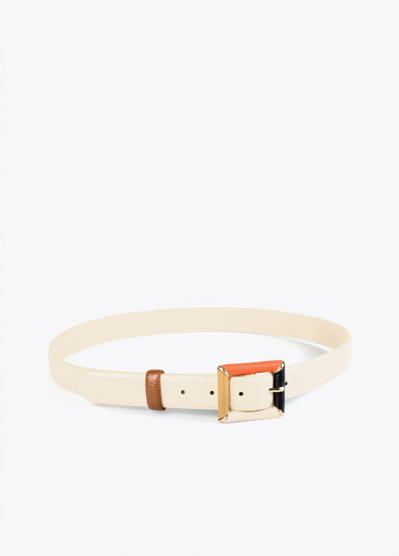 Eco-leather belt with multi color buckle