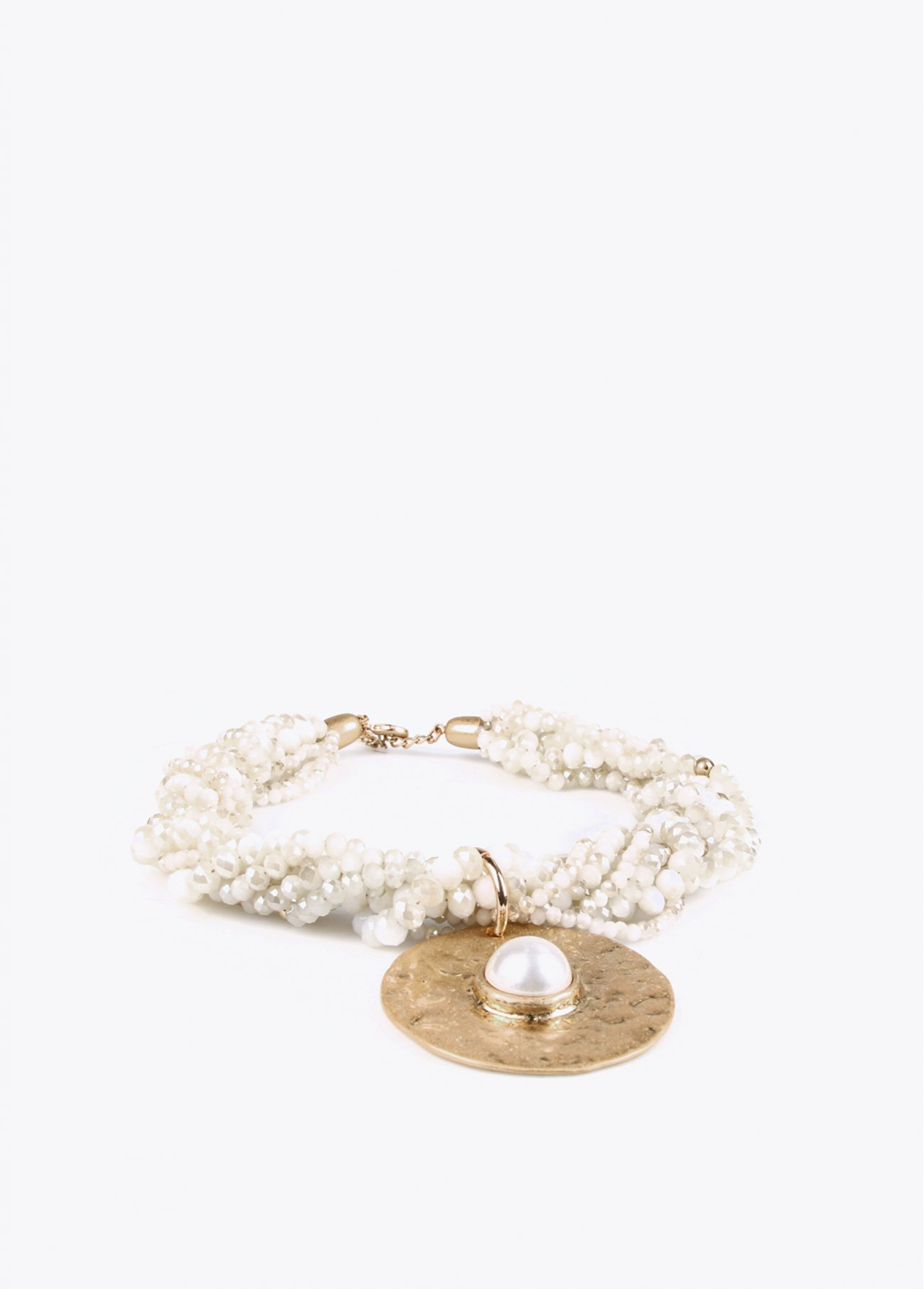 Off white faceted stones necklace with m
