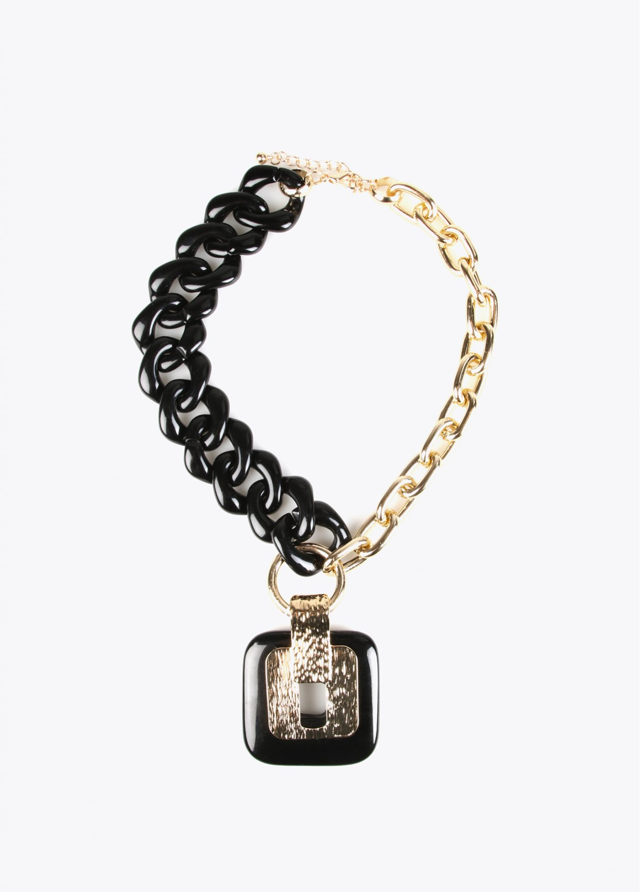 Necklace with golden and black acrylic l