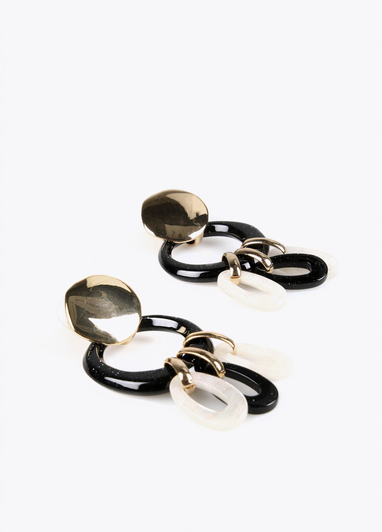 Round hoop earrings with small hanging h
