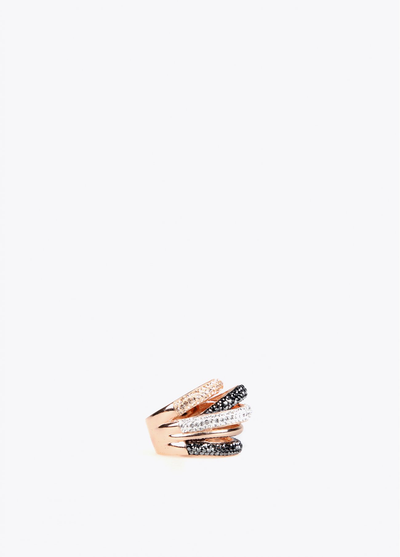 Crystal stones multi arms ring