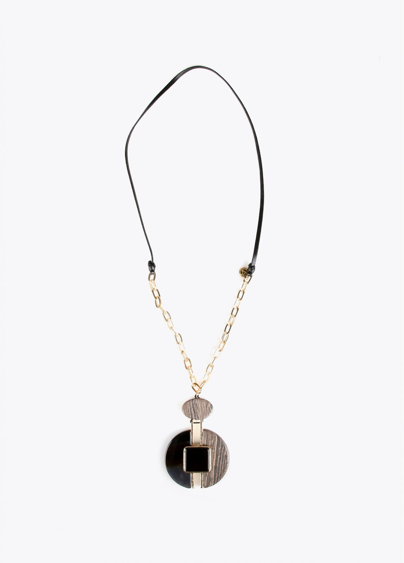 Necklace with wood round pendant