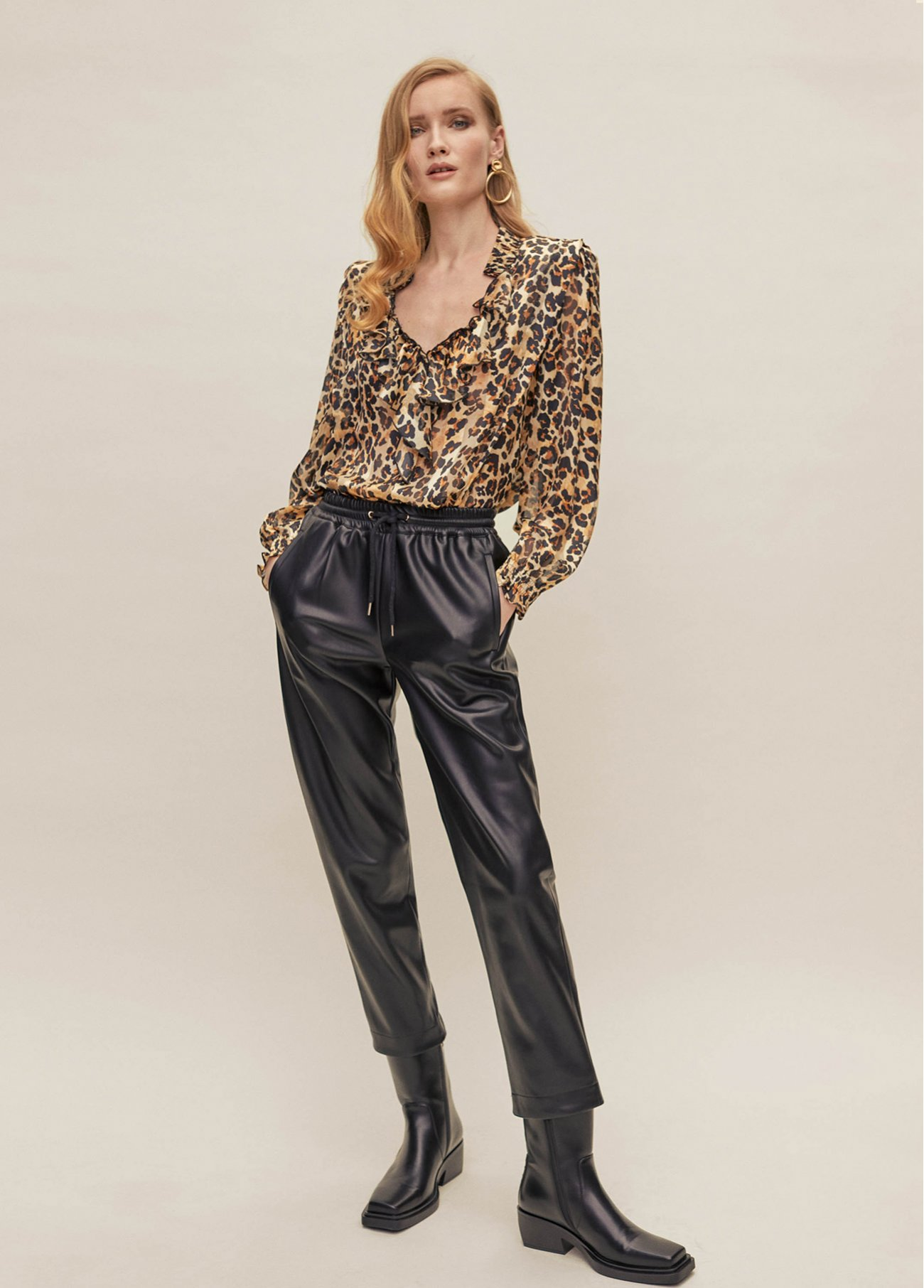 Animal print blouse with ruffle