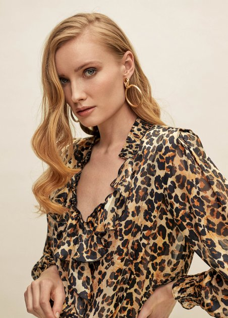 Animal print blouse with...