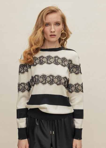 Stripy pull over with laces...