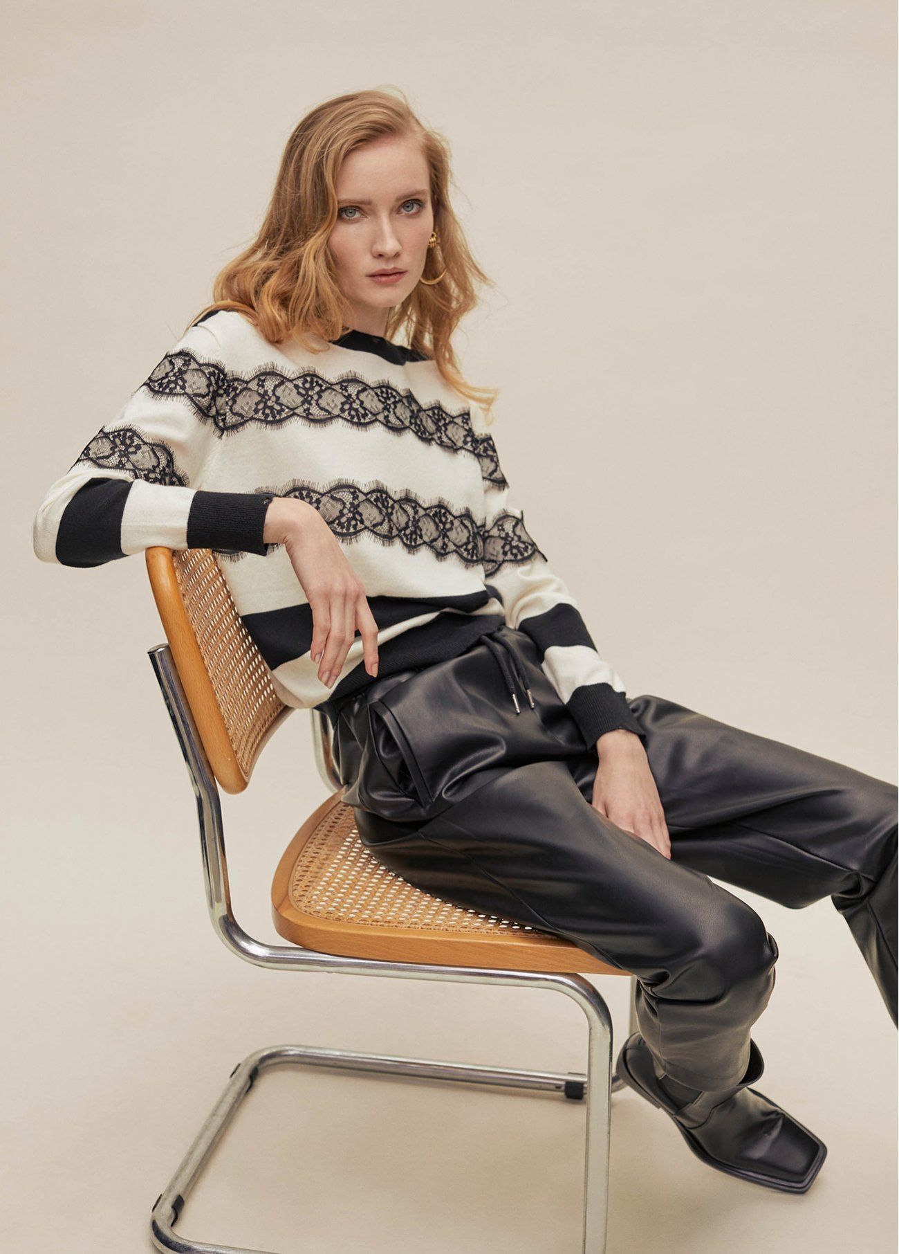 Stripy pull over with laces detail