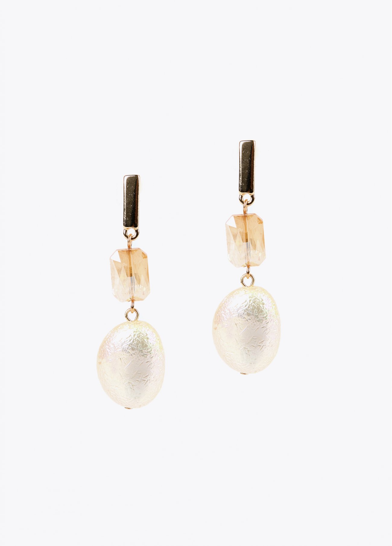Crystal stone and pearl earrings