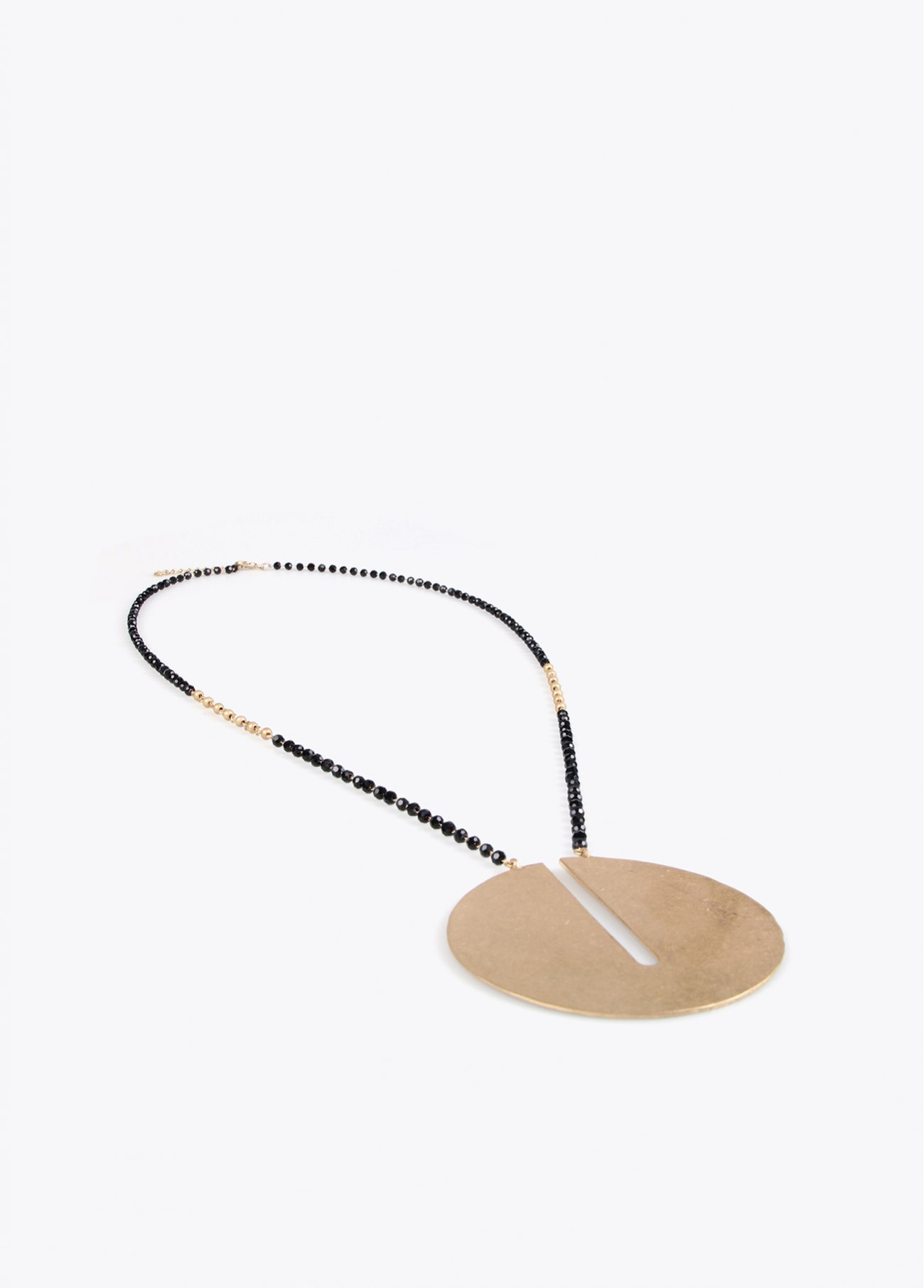 Faceted stones long necklace with round
