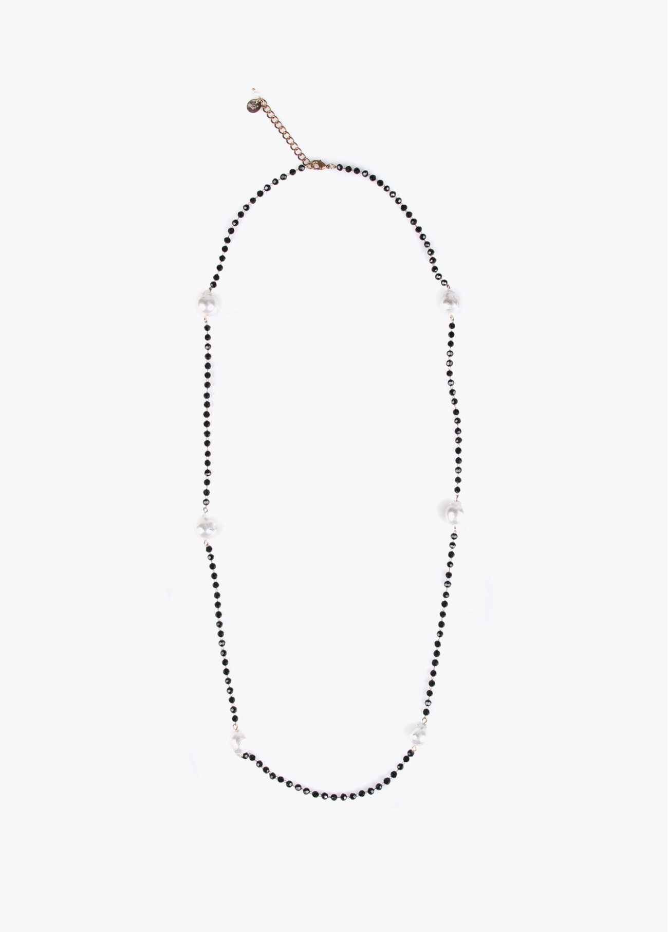 Long faceted stones necklace with pearls