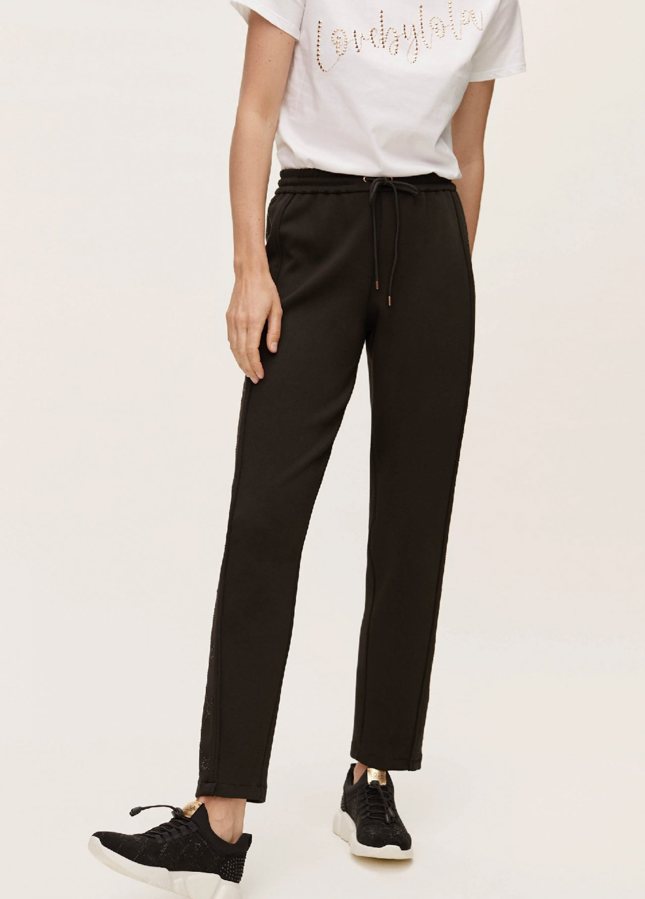 Jogging pant with metallic print on side