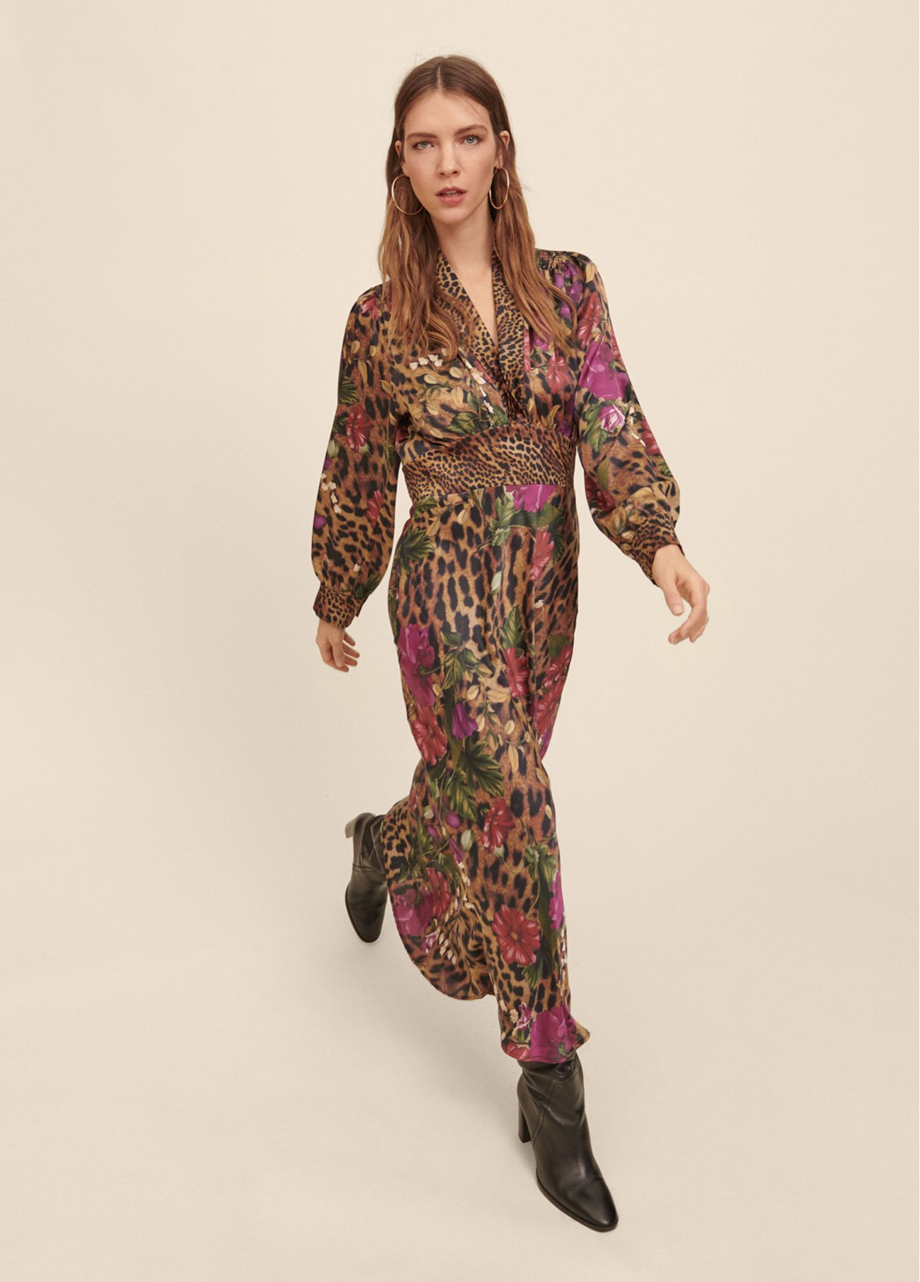 Dress with mixed prints