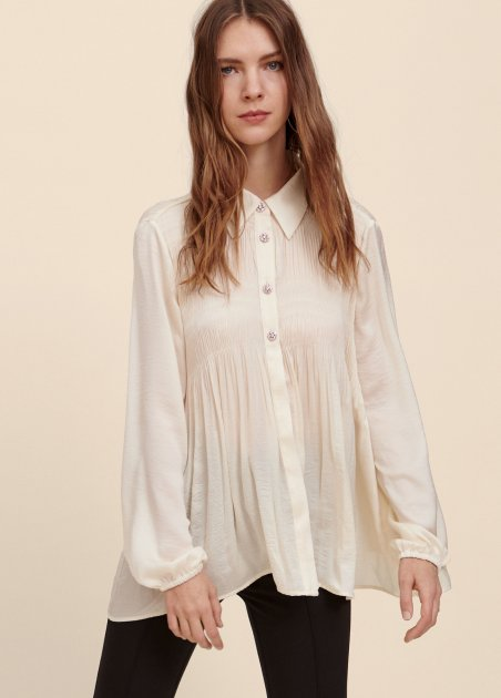 PLEATED BLOUSE WITH...