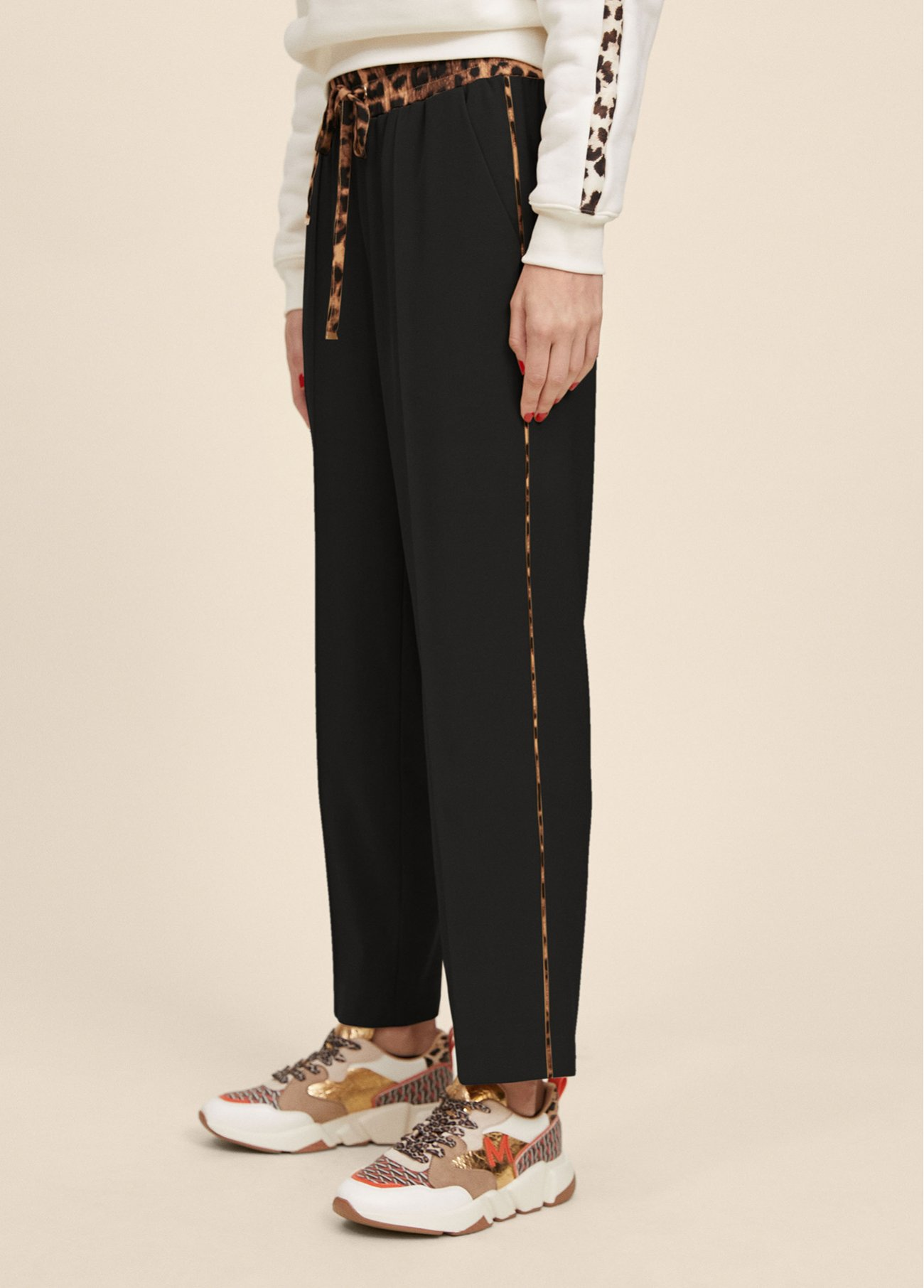 Joggers with animal print detailing