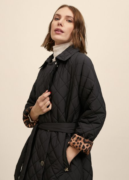 Quilted trench with self...