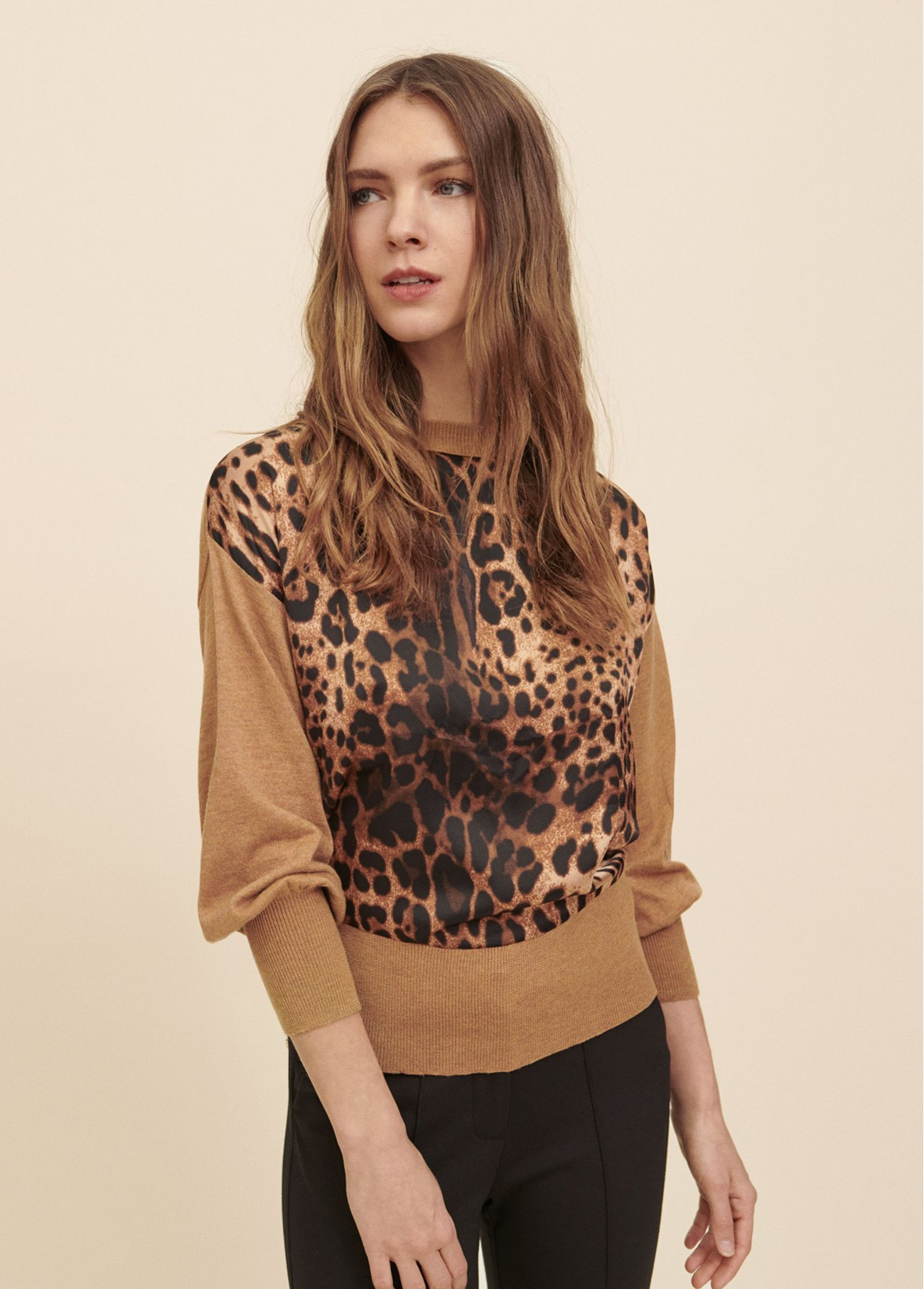 Pull over with printed animal fabric on