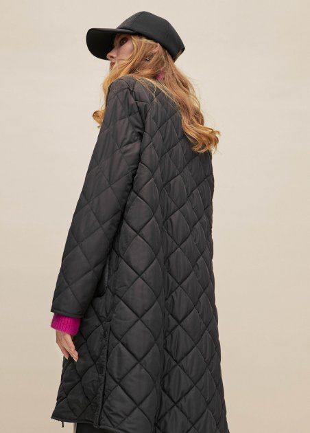 Quilted jacket with pu pockets
