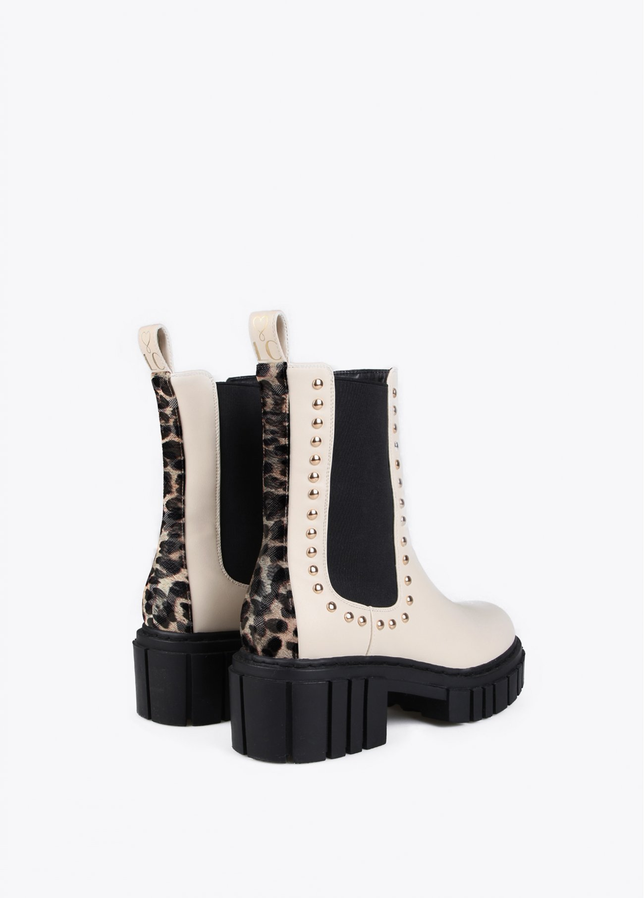 White animal print ankle boots