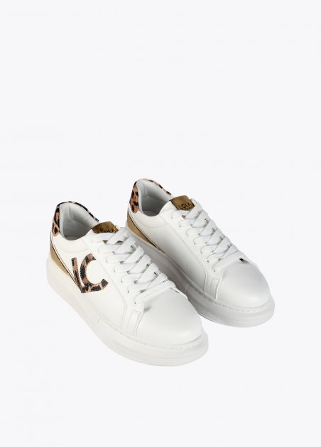 White sneakers with animal...