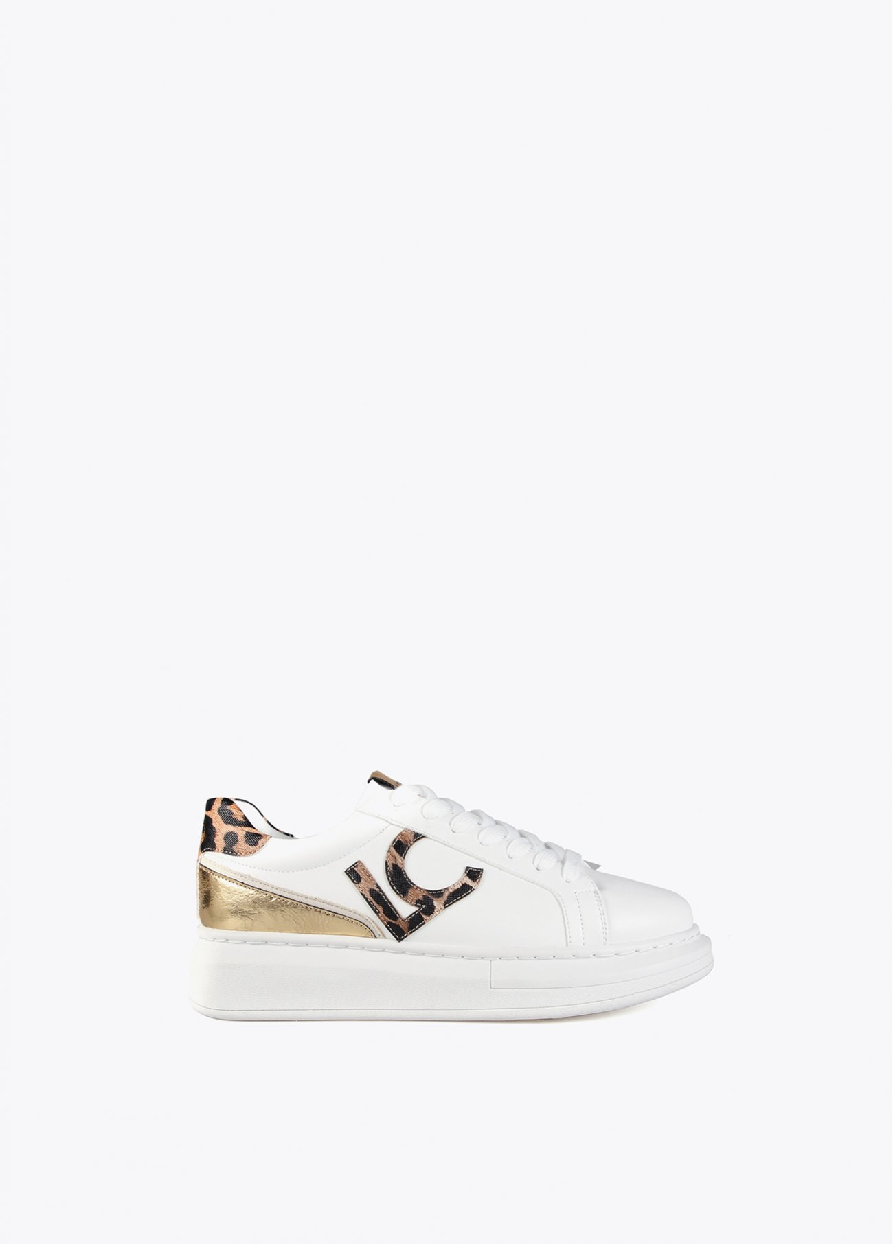 White sneakers with animal print detail