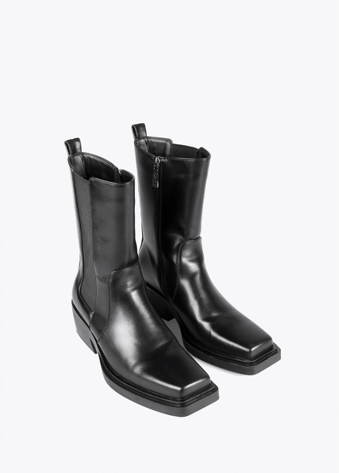 Black square toe ankle boots