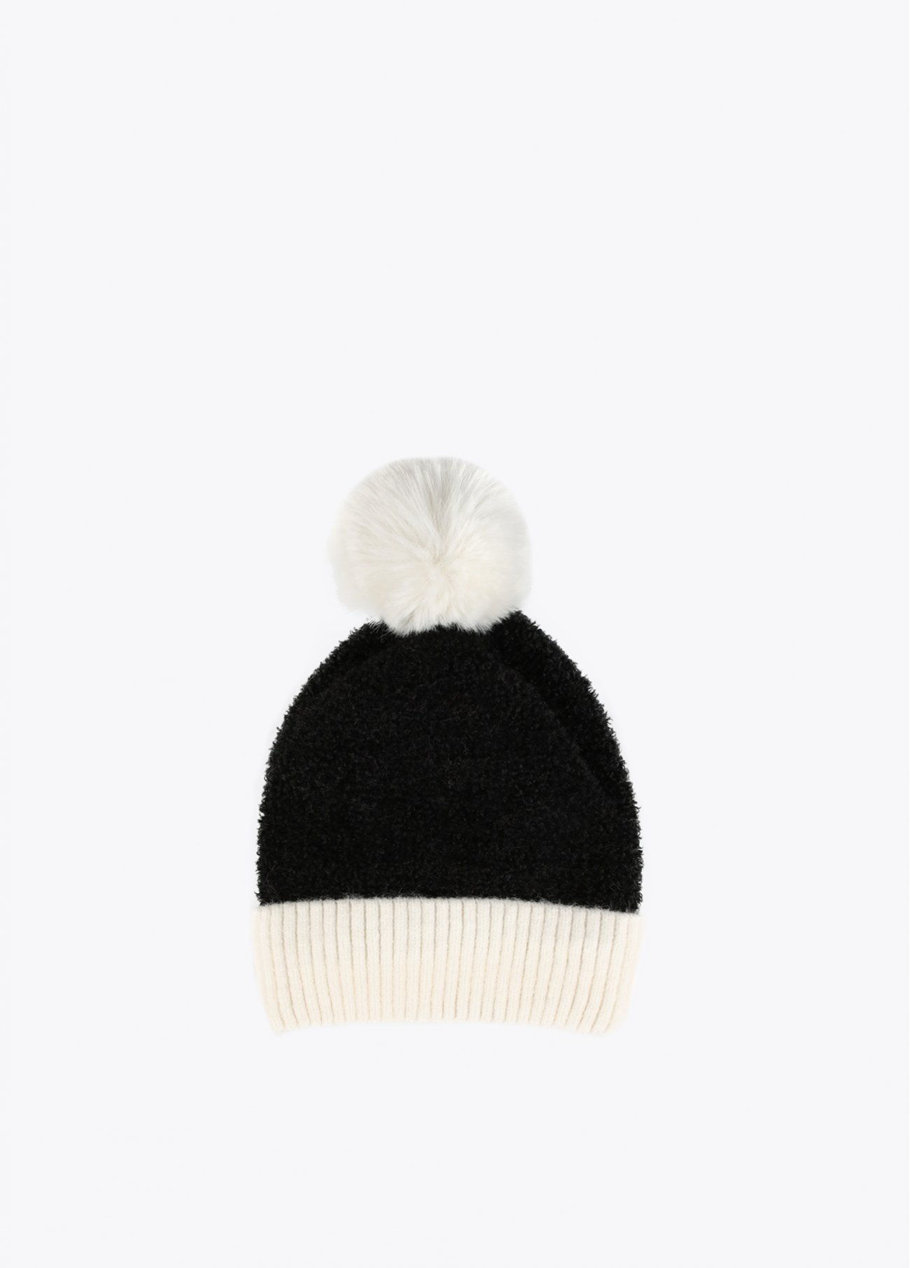 Two-tone hat with pompom
