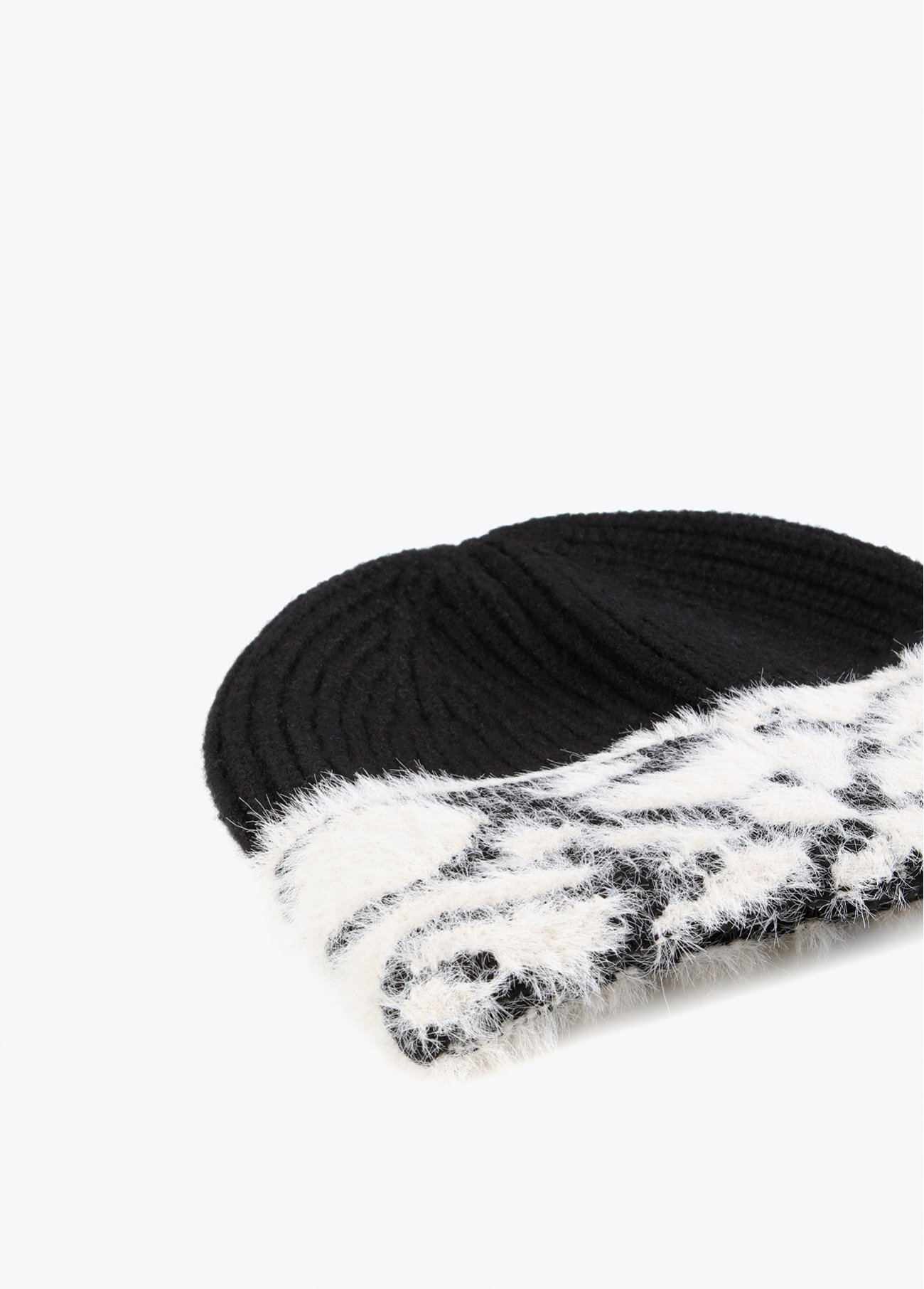 Black hat with quilted detail