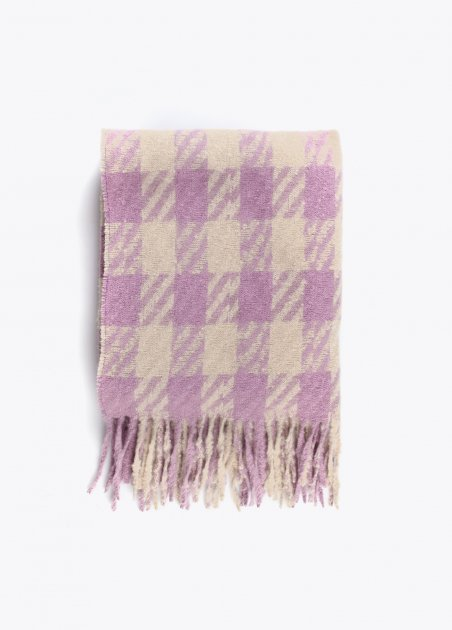 Check scarf with fringing