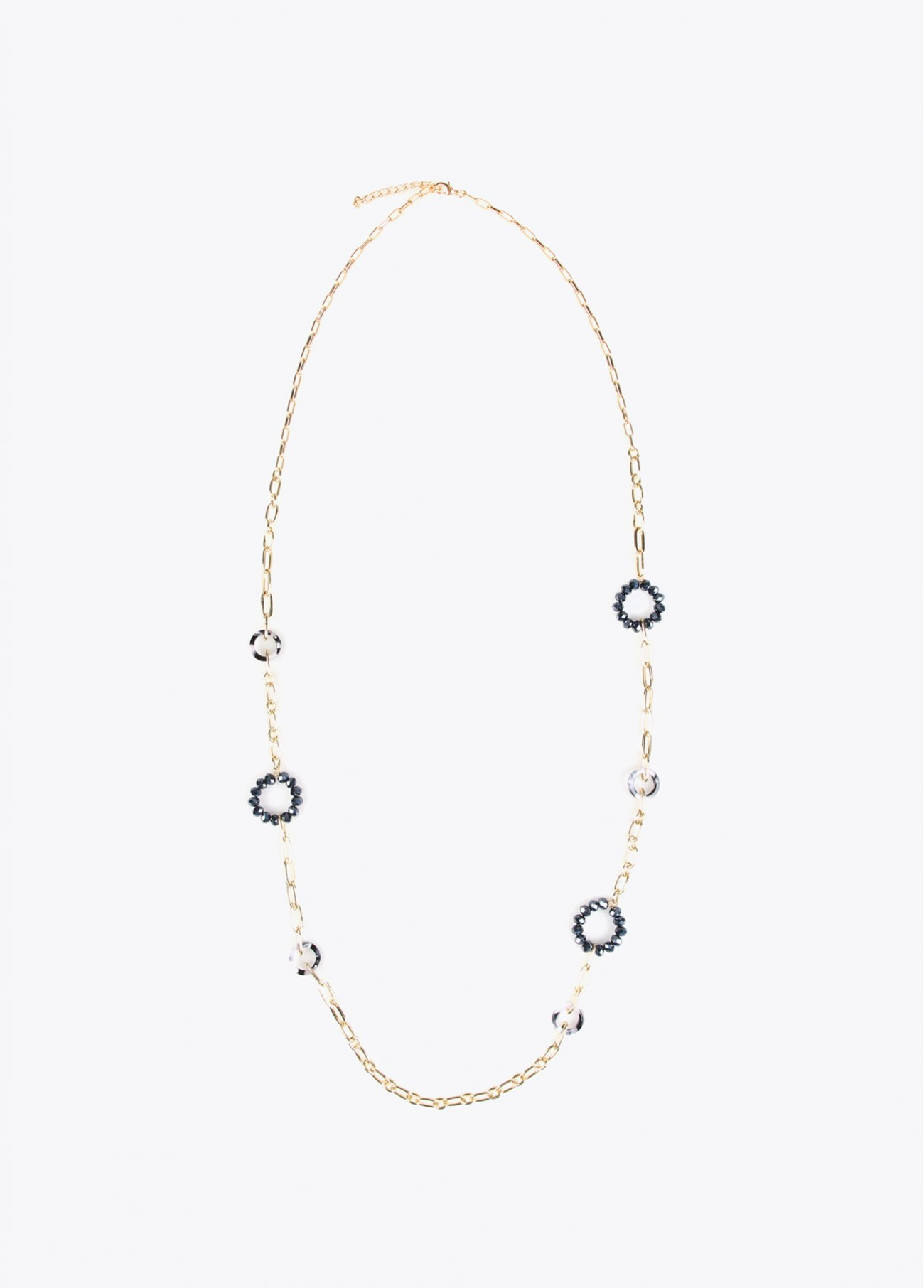 Long necklace with chain and faceted sto
