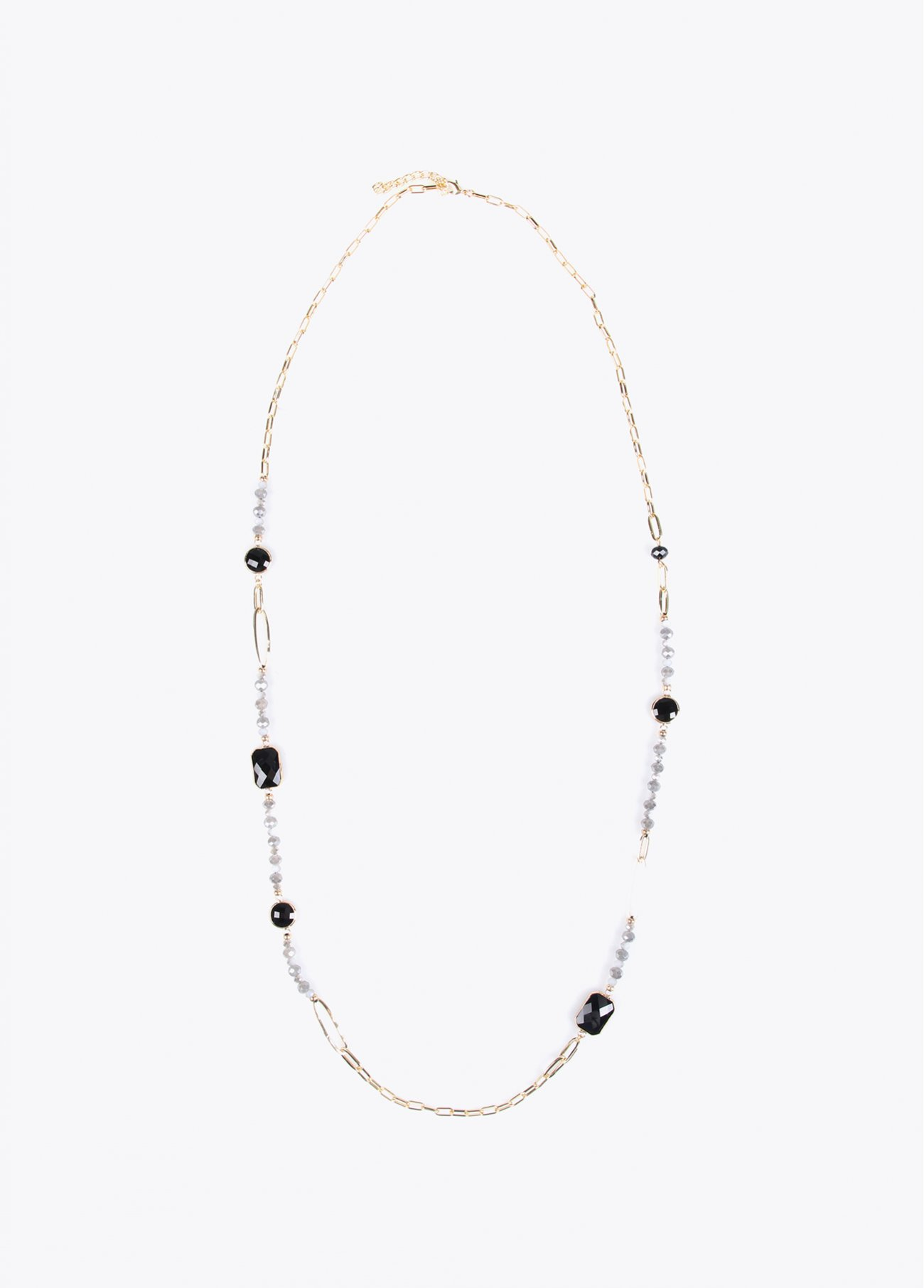 Long necklace with chain, faux pearls an