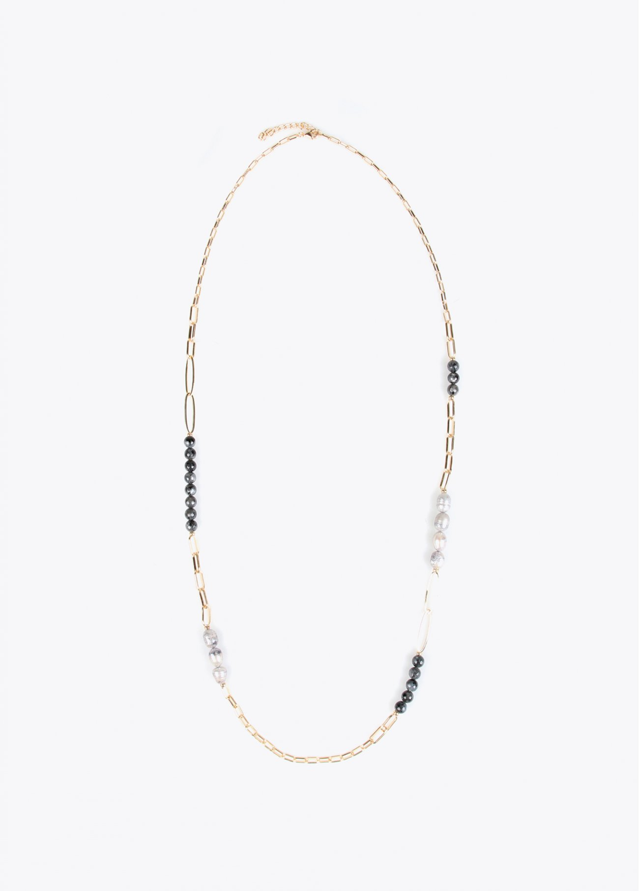 Long necklace with stones and faux pearl