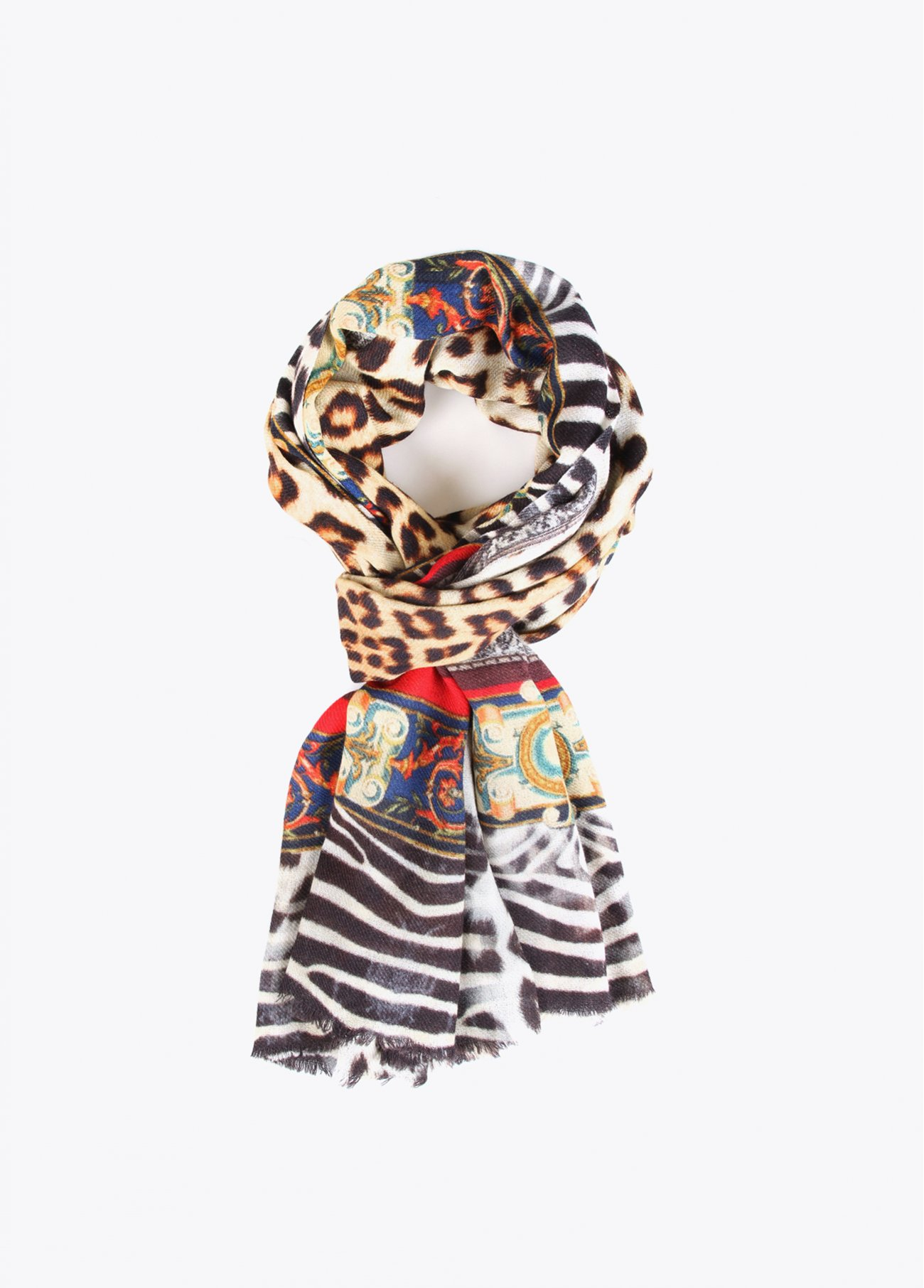 Animal print scarf with colour details